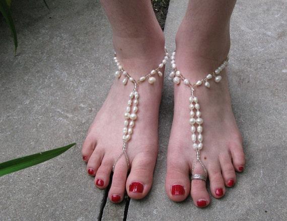 925 Sterling Silver Ivory Freshwater Pearl Swarovski Crystal Pair of Dangle Beaded Barefoot Sandals Foot Thongs Anklet Toe Ring Beachwear