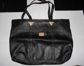 vintage black leather kitty tote