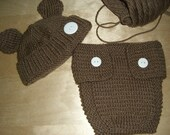 Knitted Baby Beanie Hat and Diaper Cover Brown Bear