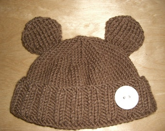 Knitted Baby Beanie Hat Brown Bear