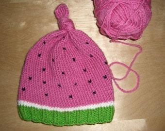 Knitted Baby Beanie Hat Watermelon