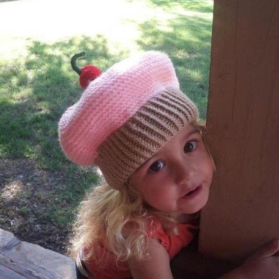 Knitting Pattern Cupcake Beanie : Knitted Baby Beanie Hat Cupcake