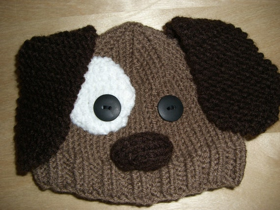 Puppy Dog Hat Knitting Pattern : Knitted Baby Beanie Hat Brown Puppy Dog by NiftyNookDesigns