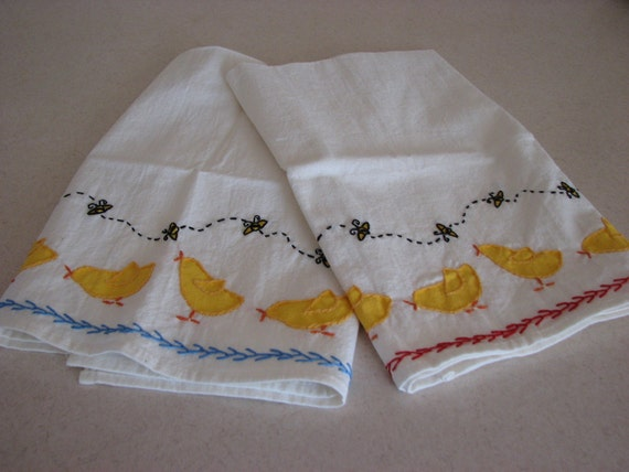 Chick and Bee Tea Towels