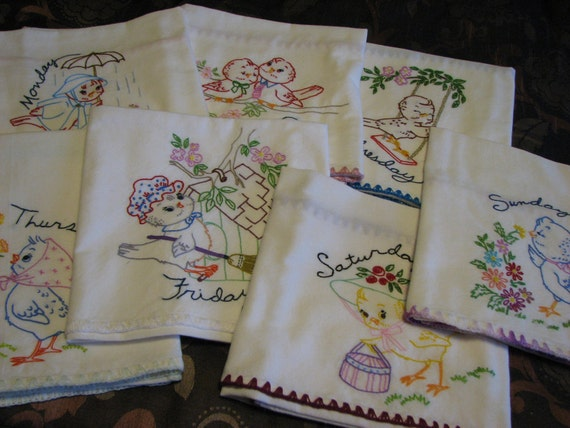 Hand Embroidered Tea Towels (7)