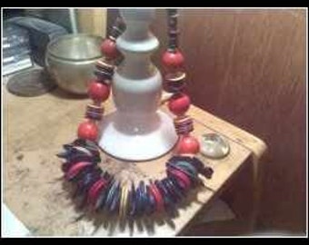 Wooden Beaded Statement Necklace