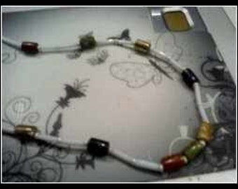 Beaded White Gold  Rust...Green  Necklace