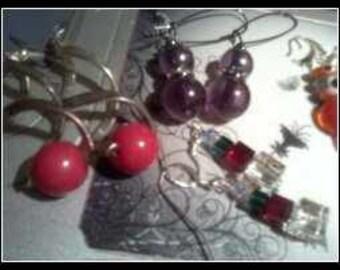 Glass And Enamel Earrings  5 pair
