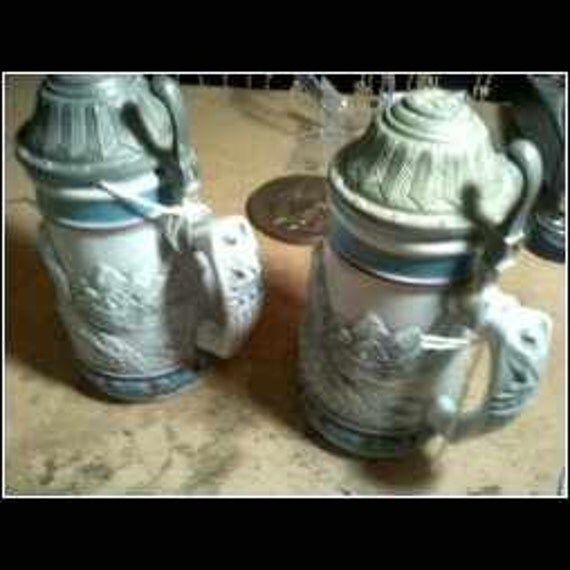 Two Avon Steins...The  Bald Eagle... 1990 Circa Handcrafted In Brazil...