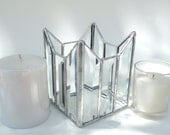 Stained glass candle holder, clear bevels, votive