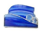 Desktop Business Card Holder Blue Handmade OOAK