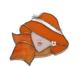Fashionista Stained Glass Suncatcher  - Cloche Hat - Handmade - OOAK