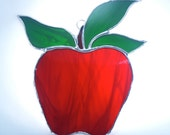 Stained Glass Apple Suncatcher Red Kitchen Dining Decor - Nostalgianmore