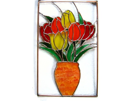 Stained glass panel tulip bouquet red orange yellow
