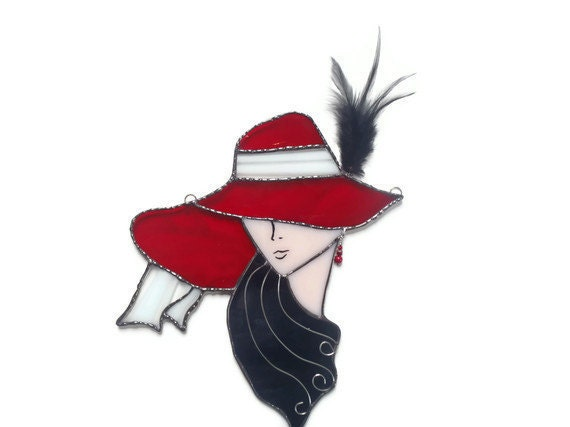 Stained Glass Suncatcher - Red Hat Lady - Window Hanging - Handmade