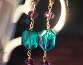 Amethyst and Turquoise Drop Earrings