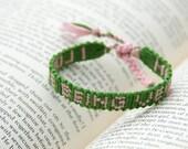 Friendship bracelet, alpha, letter, word, phrase, name bracelet, pink, green, vegan