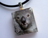 Koala Scrabble Tile Pendant with Necklace - All Proceeds to Planet You Wildlife Conservation