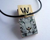 White Tiger  Scrabble Tile Pendant with Necklace - All Proceeds to Planet You Wildlife Conservation