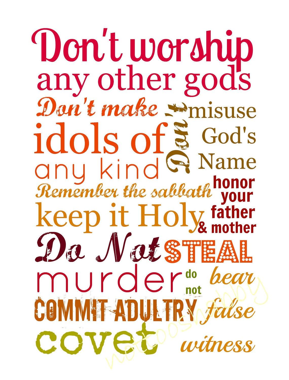 Items Similar To Scripture Print Ten Commandments On Etsy