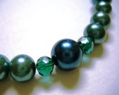 Teal Glass Pearl Necklace with Matching Earrings