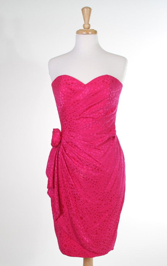 Strapless hot pink 1980s silk party dress