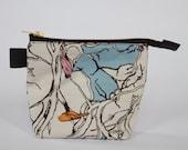 Organic cotton bird makeup zippered leather pouch bag