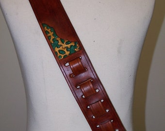 Steampunk guitar Strap- Hand Carved