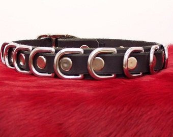 Leather D Ring Dog Collar (heavy duty)- Handmade