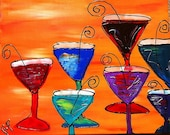 Funky Colorful Martini Painting 16x20 Acrylic on Canvas