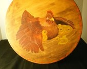 Handpainted Hen and Chicks Wood Plate