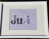 Personalized, Custom Framed Name, Purple Theme, Children's Bedroom Decor, Nursery Decor, Children's Wall Art