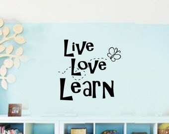 LIVE LOVE LEARN kids play room Vinyl Wall Lettering Decal Kids Room