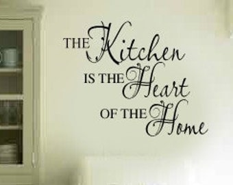 The Kitchen is the Heart of the Home Vinyl Wall Lettering Decal LARGE