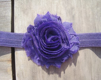 Purple Shabby Chic Headband, Baby Girl Headband, Baby Headband, Baby Bow, Baby Girl Bow, Infant Headband, Infant Bow, Toddler Headband