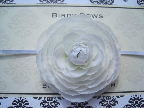 White Poppy Flower Headband, Baby Headband, Baby Girl Headband, Baby Bow, Infant Headband, Infant Bow, Newborn Headband,