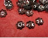 100pc 6mm gunmetal finish bead cap-900A