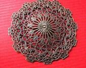 4pc 56mm antique bronze fancy filigree center pieces/wraps-8205