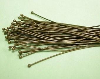 50pc 50mm(2 inch) long 0.5mm(gauge 25) antique bronze round head pin-7587