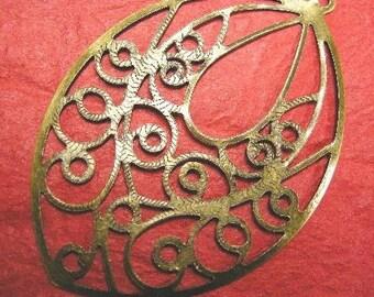 6pc antique bronze filigree leaf pendant-4055