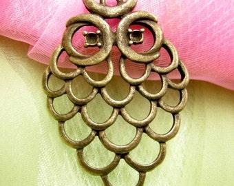 2pc antique bronze metal alloy nickel free owl pendant-3797