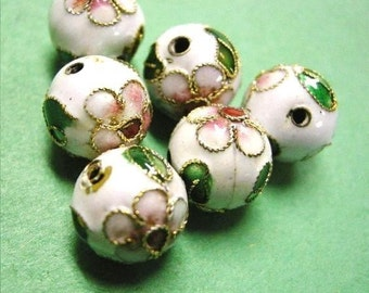 10pc 10mm round Cloisonne beads-665