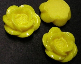 6pc 19mm yellow resin flower cabochon-4248
