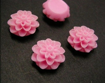 6pc Pink Resin Flower Cabochon-2570G