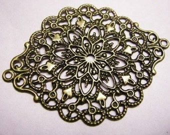 8pc antique bronze filigree wrap-4067