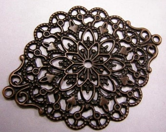8pc antique copper filigree wrap-4113