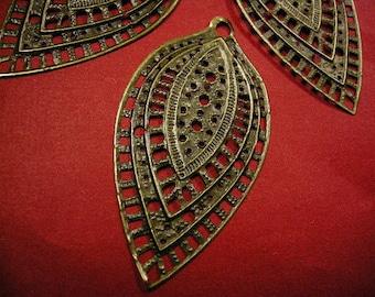 4pc antique bronze metal leaf pendant-4552