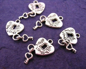 12 pc Antique Silver Plated Heart Lock Key Love Pendants-788