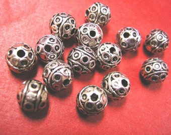 12pc 8mm antique silver metal alloy round beads-4970