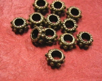 50pc 6mm antique bronze metal spacer-3853